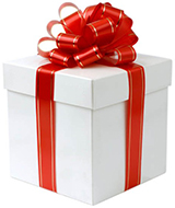 White fancy box with red ribbon present on white